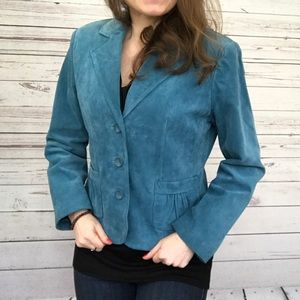 Teal Leather Suede Petite Blazer